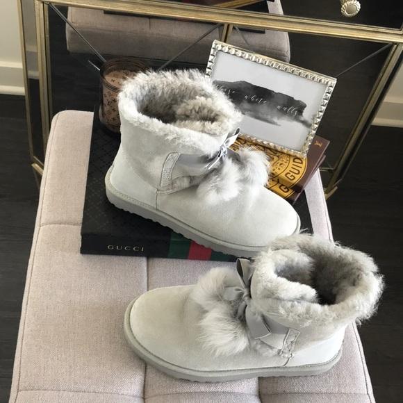 Gita Ugg Boots in Grey Violet    Pom Pom Ankle. M 5a81fb9e2ae12f6b848c8fe3 ffc800136